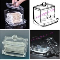 Wholesale Beauty Clear Acrylic Cotton Swab Q tip Storage Holder Box Cosmetic Makeup Case