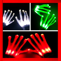 Wholesale New changing LED Luminous gloves for KTV Party LED Gloves LED noctilucent gloves flashing cosplay Gloves Party Supplies