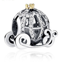 Wholesale Real Sterling Silver Rhinestone Pumpkin Carriage Charm Fit European Bracelet Authentic Luxury DIY Jewelry Gift