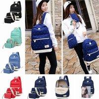Wholesale 3PCS SET New Dot Canvas Backpacks Unisex Zipper Preppy School Bag Travel Bags Outdoor Shopping Students Shoulders Bag LJJP300