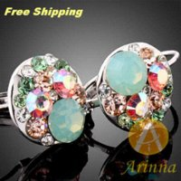 arinna earrings - Arinna High Quality New Fashion Jewelry K White Gold Plated Black Austrian Crystal Earring E0573