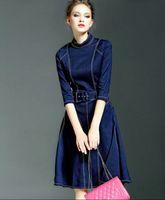 al por mayor vestidos largos usan jeans-2016 Reloj violín denim vestidos de las mujeres ropa de manga larga de cinturón otoño vestido de las señoras ropa de moda casual casual para mujer trabajan jeans