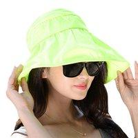 Wholesale New Arrivals Women s Lady s Sun Hats Visor Caps Sunbonnet Polyester Floppy Wide Brim Folding Outdoor Summer Beach EA80 Free Shippi