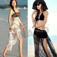 Wholesale Sexy Beach Wear Dress Women s Lace Sarong Summer Bikini Cover Up Wrap Pareo Split Ends Beach Skirts Swimwear Z08