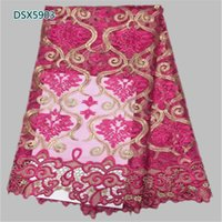 Wholesale latest african lace fabric French Net Lace Fabric High Quality African Tulle Fabric Design Party dp DSX59