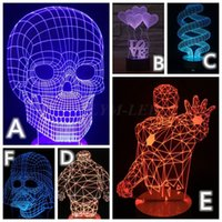 3d holiday gifts - 2016 Lamparas D LED Night Light Mood Lamp for Holiday Lamp D Bulbing Light USB Wood Skull BB8 Ironman Color Changing As Gift