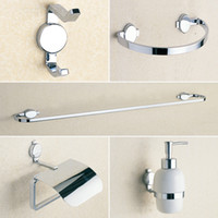 bathroom paper towel dispensers - Chrome Hardware Bathroom Accessories Brass Liquid Soap Dispenser Towel Rail Coat Hook Towel Ring Toilet Paper Holder set