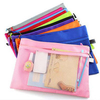 Wholesale 5pcs Raibow Color Gridding Document Bag With Zipper Multilayers Zipper Filing Products A4 Folder School Office Supplies Papelaria