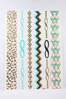 Wholesale 4sheets Leopard Chain Glod Metallic Tattoo Temporary Blue Flash Tattoo bracelet ion bracelet stand bracelet stand