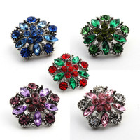 Wholesale Rhinestone Snaps Chunk Press Buttons mm For Snap Jewelry Making Colorful Designed Glass Snap Button Chunk Charms E644L