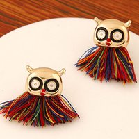 Wholesale Korean Fashion Jewelry Personality Sweet Women Metal Owl Earrings Temperament Tassel Stud Earrings Three Colors