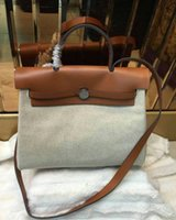 Wholesale Fashionbag Brown leather with Canvas