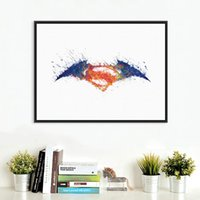 batman logo pictures - Original Watercolor Batman vs Superman Logo Movie Art Print Poster Kids Room Wall Picture Canvas Painting No Framed Home Decor