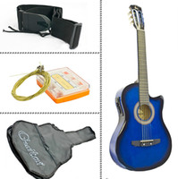 Wholesale Electric Acoustic Guitar Cutaway Design With Guitar Case Strap Blue New