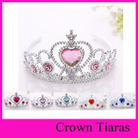 baby toys hair - 6 colors frozen crown tiara Elsa Anna princess crowns hearts diamond tiara baby girls party hair accessories pageant hairban party gifts toy