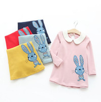 american doll clothes lot - Cartoon rabbit embroidered dress Doll collar girls kids children casual skirt cute fashion clothing autumn