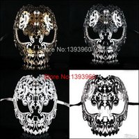 Wholesale Filigree Devil mask Skull Venetian Masquerade Gold Mardi Gras Costume mascaras halloween mask laser cut metal carnival mask