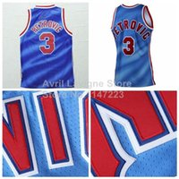 Wholesale New Arrivals Drazen Petrovic All Star Jersey New Jersey Drazen Petrovic Light Blue All Star Throwback Basketbal