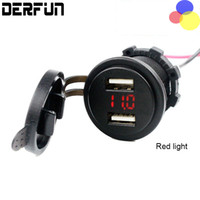 Wholesale Dual USB Car Charger adapter Volmeter WaterProof Motorcycle Blue red LED USB Ports Power Socket Outlet Plug