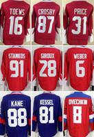 Wholesale 2016 world cup of hockey jerseys TOEWS PRICE CROSBY KANE WEBER STAMKOS GIROUX KESSEL OVECHKIN freeshipping