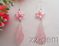 Pink baby pearl earrings silver - Baby Pink Pearl Rose Quartz Flower Earrings Silver Hook