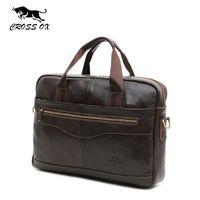 Wholesale CROSS OX Genuine Leather Brown Men Briefcase quot Laptop Business Bag Cowhide Men s Messenger Bags Luxury Lawyer Handbags