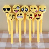 Wholesale Emoji Ballpoint Pens for Children Kids Cute Plush Toy QQ Expression Pen Office School Boys Girls Cartoon Pen Cheap Christmas Gift