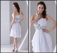 Wholesale Little Chiffon White Prom Short Dresses Side Zipper Sweetheart Neck Sashed Crystals Beadings Sequins Cheap Graduation Dress Chiffon