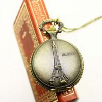antique russian watches - dropship russian hot sale bronze vine big map Eiffel Tower fashion quartz pocket watch