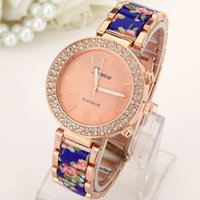 acrylic watch case - 2016 high quality fashion GENEVA ceramic printing band rhinestone case women s watch DHL