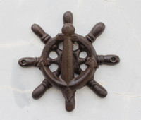 Wholesale 2 Pieces Cast Iron Ships Wheel Door Knocker Outdoor Decor