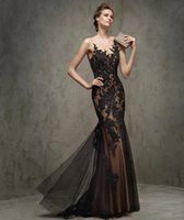 Wholesale 2016 New Fashion Sexy Lace Off Shoulder Sleeveless Sweep Train Back Hollow Evening Dress Black Color