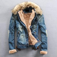 adjustable waist jeans - New Winter Men Clothing Jeans Coat Men Outwear With Fur Collar Wool Denim Jacket Thick Clothes Plus Size XL