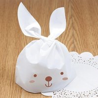 Wholesale 500pcs Food Packaging Bags cm Cookie Mini Cute Rabbit Print Plastic Candy Bag Cookies Bags Christmas gifts Bags