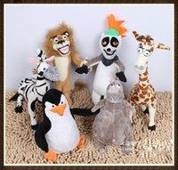 achat en gros de girafe de bébé animal en peluche-Cadeaux Madagascar Peluche Lion Zebra Giraffe Singe Penguin Hippo Doll Peluches Cartoon Jouets bébé Enfants enfants Livraison gratuite