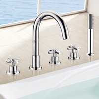Wholesale PHASAT New Deck Mounted Bathtub Faucet With Hand Shower Brass Five Piece Fixed Support Type Faucet