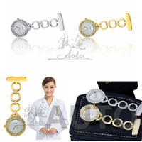 Wholesale 5 pieces Fashion Round Dial Nurse Watch Full Steel Medical Watch Sparkle Rhinestone Metal Chain Doctors Watch Gold Silver with Battery