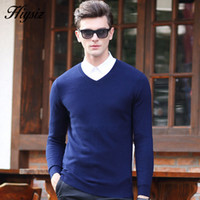 Wholesale HS High Quality Winter Soft Warm Knitted Merino Wool Sweater Men Real Cashmere Sweaters Pure Color V Neck Pullover Men