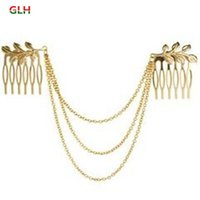 Wholesale Womens Personality Golden Tone Leaf Hair Cuff Chain Comb Headband Hair Band Hot
