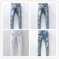 Wholesale 2016 Fashion Men s foreign trade light blue jeans pants Balmain motorcycle pants men washing to do the old fold jeans