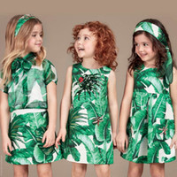 fashion clothes - 2016 Fashion Girls Clothes Autumn Winter Girls Dress with Green Banana Leaf Printed Short Sleeve Kids Dress For Girls European Dress Girl