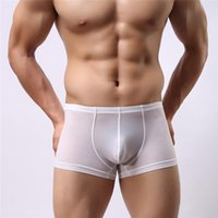 Wholesale Sexy Mens Cotton Underwear ultrathin See Through Lingerie Breathable boxers underpants for Men Colorful Household boxers briefs