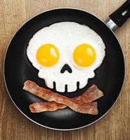 Wholesale Hot Sale New Silicone omelette device Egg Pancake Rings skull Egg molds Bakeware Kitchen Black Skeleton head Owl Rabbit omelette mold tools