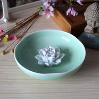 antique incense - Hand kneading ceramics lotus puckering incense inserted present joss stick incense coil Japanese household adornment display tea furnishing
