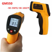 Wholesale 5pcs LCD Non Contact Digital Temperature Meter C F Pyrometer Laser IR Infrared Thermometer GM550