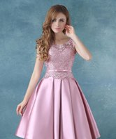 art teas - Hot Slae Sweety Pink Tea Length Satin Prom Evening Dress Elegant Lace Sleeveless Cocktail Dress Robe De Soiree