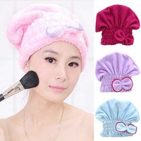 Wholesale Women s Hair Drying Hat Spa Towel Turban Cap Cute Bowknot Soft Coral Velvet Micro fiber RL