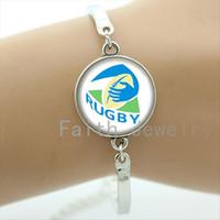 art channel - Simple fashion rugby jewelry football sport art picture handmade glass dome bracelet modern elegant style women bracelets NF029