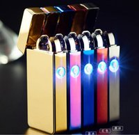 Wholesale Arc Lighters metal USB Rechargeable Flameless Electric Arc Windproof Cigar Cigarette Lighter Cross Double Pulse Slim Lighter With LED