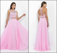 art boutique - 2016 Boutique Two Pieces Prom Dresses Pink Color Crystal Beading Beaded Jewel Sexy Backless Formal Evening Gowns Prom Dress Long